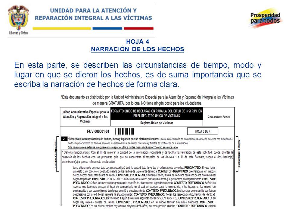 HOJA 4 NARRACIÓN DE LOS HECHOS