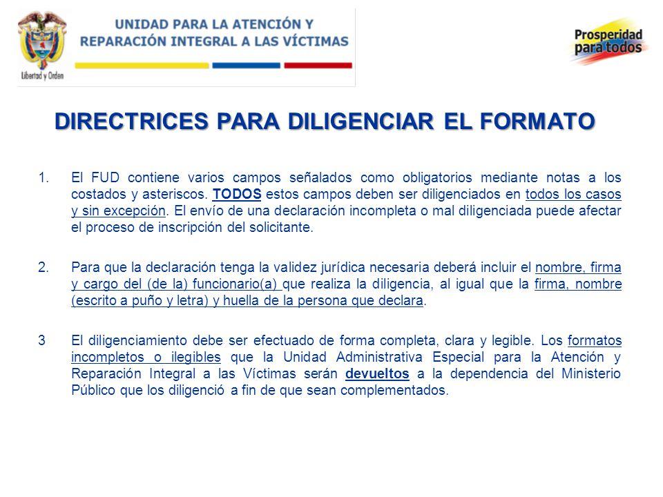 DIRECTRICES PARA DILIGENCIAR EL FORMATO