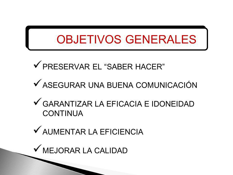 OBJETIVOS GENERALES PRESERVAR EL SABER HACER