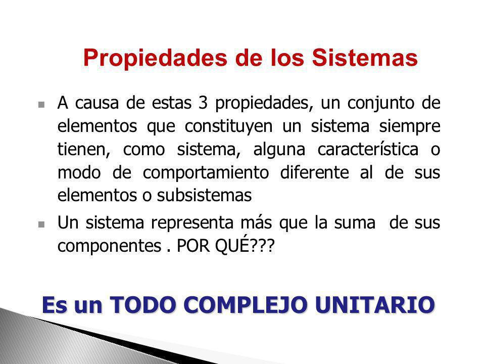 Propiedades de los Sistemas Es un TODO COMPLEJO UNITARIO