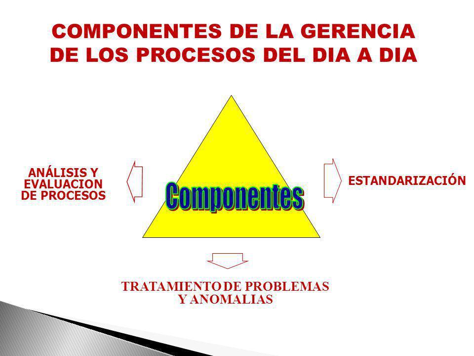 ANÁLISIS Y EVALUACION DE PROCESOS TRATAMIENTO DE PROBLEMAS Y ANOMALIAS