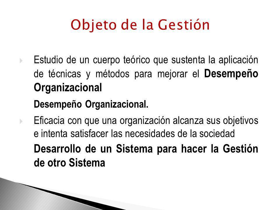 Objeto de la Gestión Estudio de un cuerpo teórico que sustenta la aplicación de técnicas y métodos para mejorar el Desempeño Organizacional.