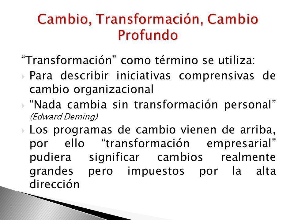 Cambio, Transformación, Cambio Profundo