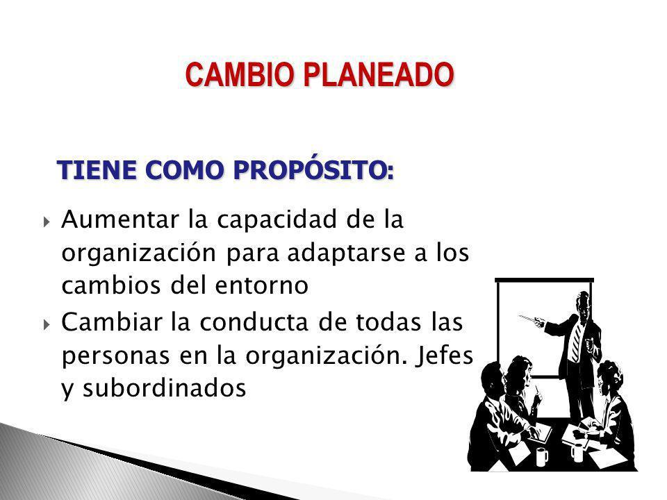 CAMBIO PLANEADO TIENE COMO PROPÓSITO:
