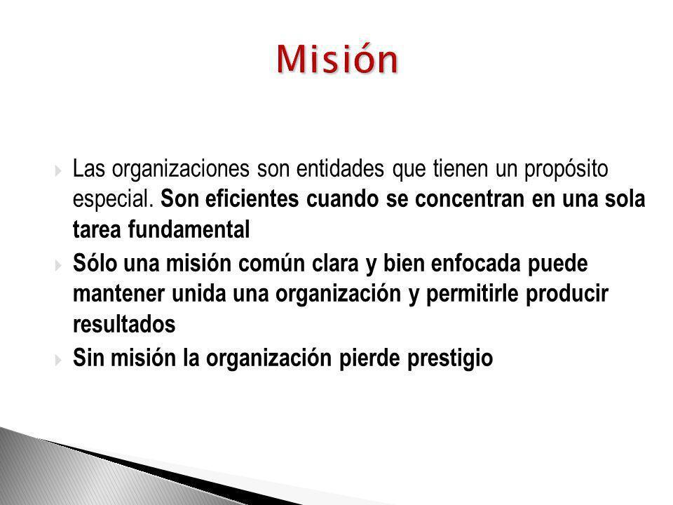 Misión Las organizaciones son entidades que tienen un propósito especial. Son eficientes cuando se concentran en una sola tarea fundamental.