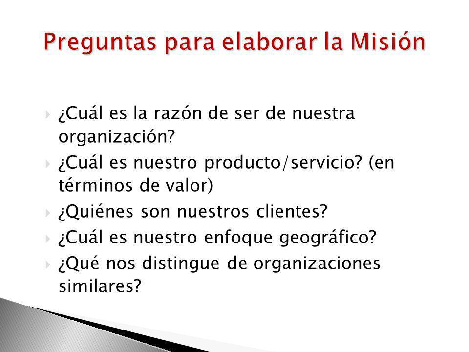 Preguntas para elaborar la Misión