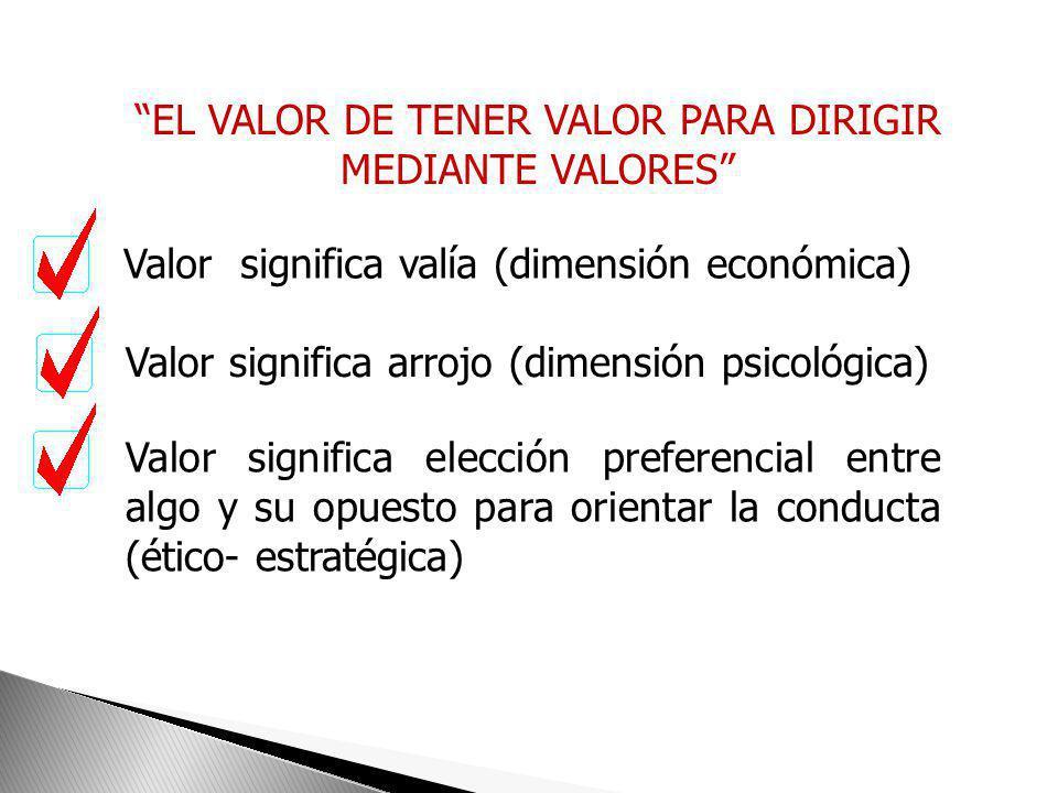 EL VALOR DE TENER VALOR PARA DIRIGIR MEDIANTE VALORES