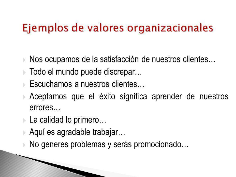 Ejemplos de valores organizacionales