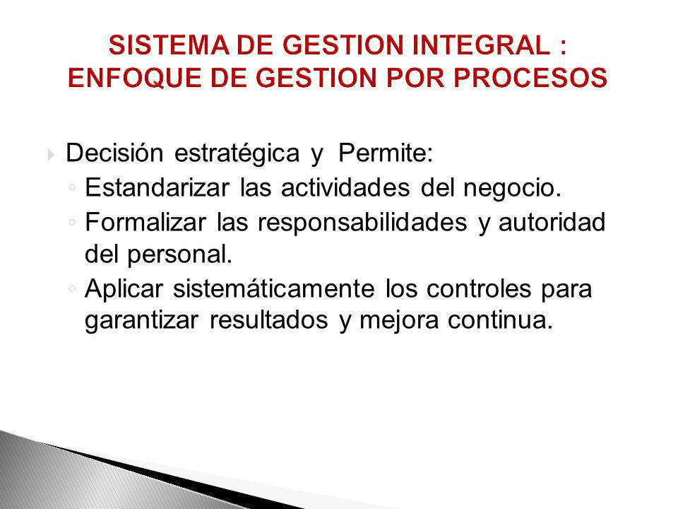 SISTEMA DE GESTION INTEGRAL : ENFOQUE DE GESTION POR PROCESOS