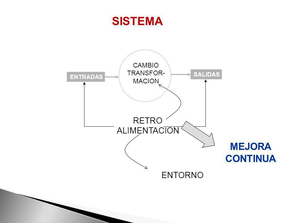 SISTEMA MEJORA CONTINUA RETRO ALIMENTACION ENTORNO CAMBIO TRANSFOR-