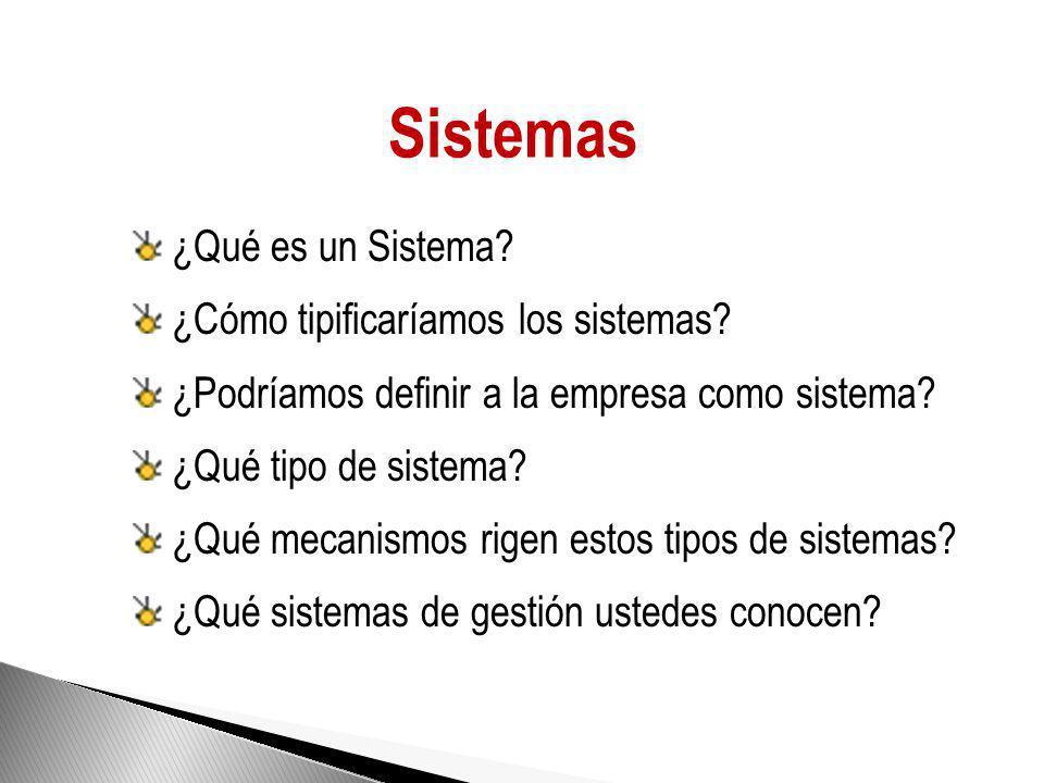 Sistemas ¿Qué es un Sistema ¿Cómo tipificaríamos los sistemas