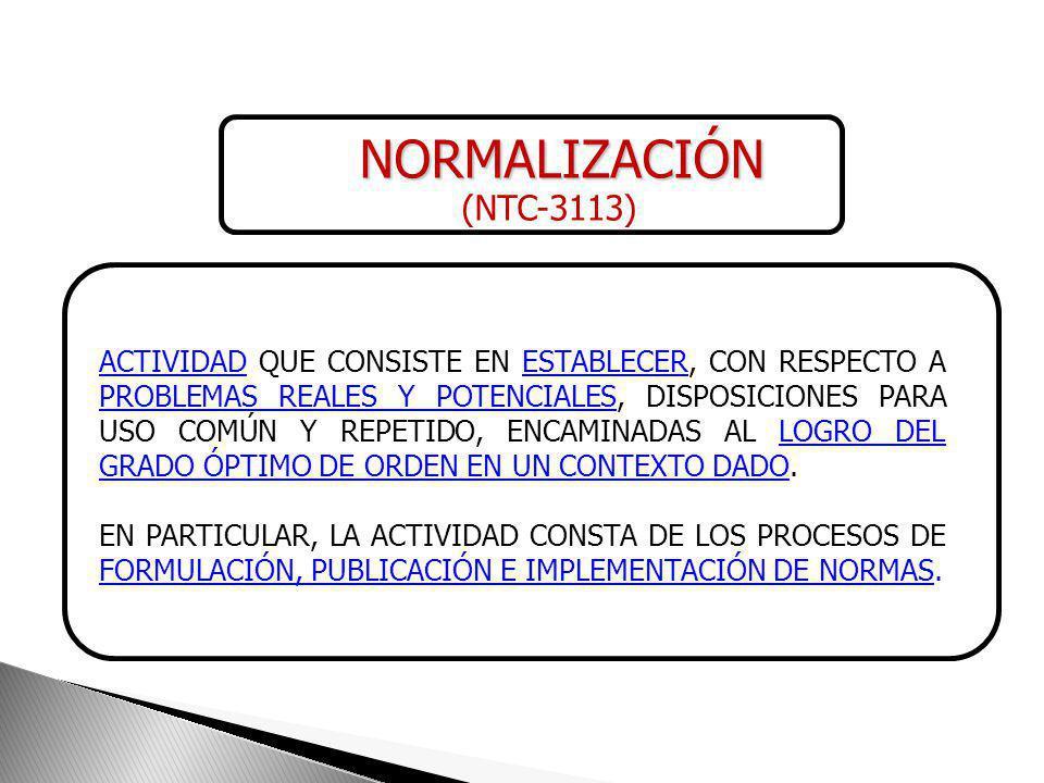 NORMALIZACIÓN (NTC-3113)