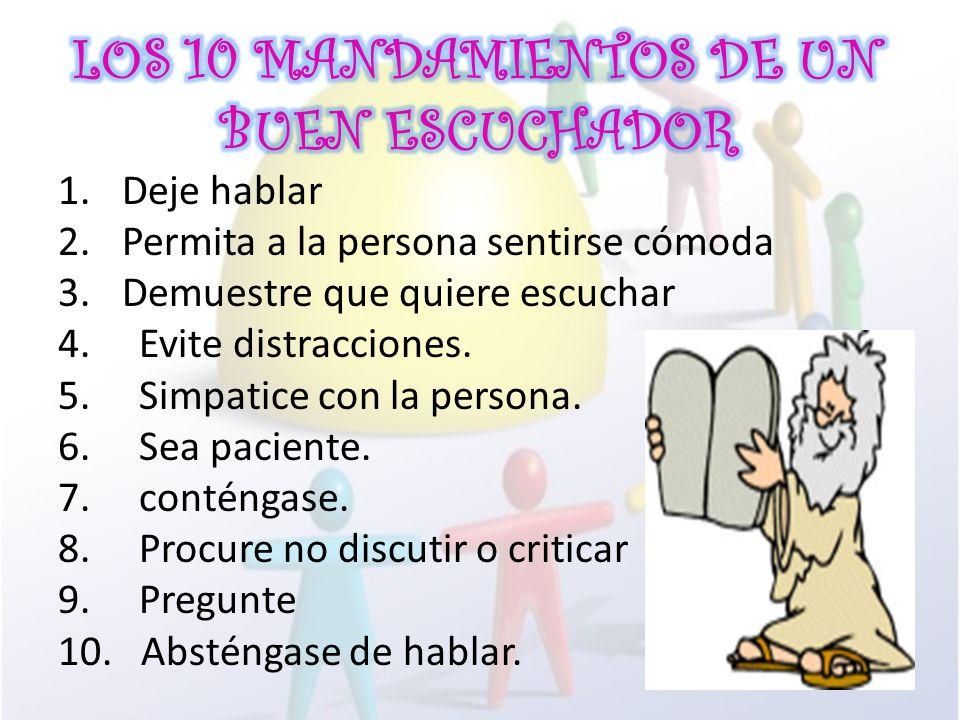 LOS 10 MANDAMIENTOS DE UN BUEN ESCUCHADOR