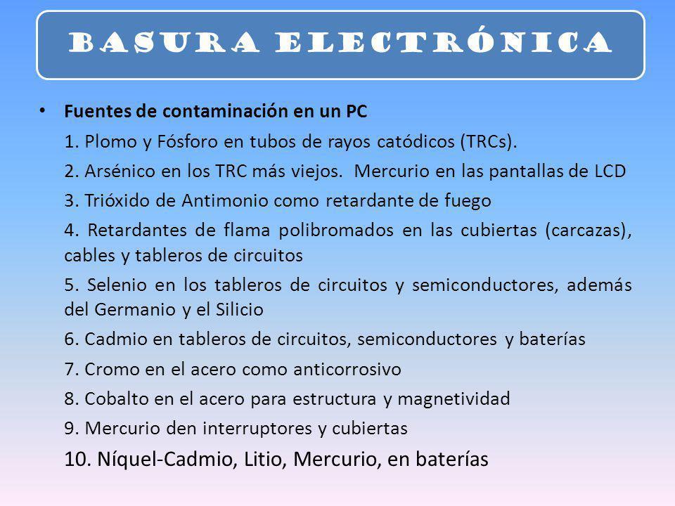 BASURA ELECTRÓNICA 10. Níquel-Cadmio, Litio, Mercurio, en baterías
