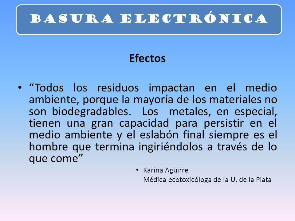 BASURA ELECTRÓNICA Efectos.