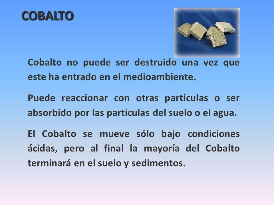 COBALTO Cobalto no puede ser destruido una vez que este ha entrado en el medioambiente.