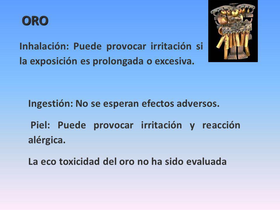 ORO Inhalación: Puede provocar irritación si la exposición es prolongada o excesiva. Ingestión: No se esperan efectos adversos.
