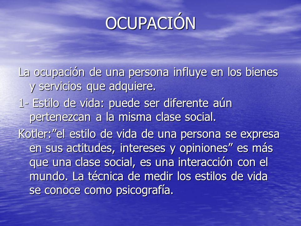 OCUPACIÓN La ocupación de una persona influye en los bienes y servicios que adquiere.