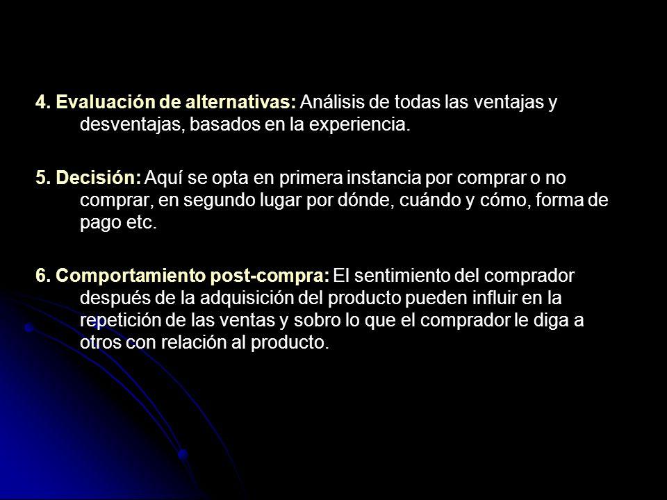 4. Evaluación de alternativas: Análisis de todas las ventajas y desventajas, basados en la experiencia.