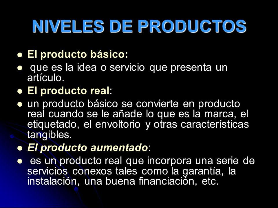 NIVELES DE PRODUCTOS El producto básico:
