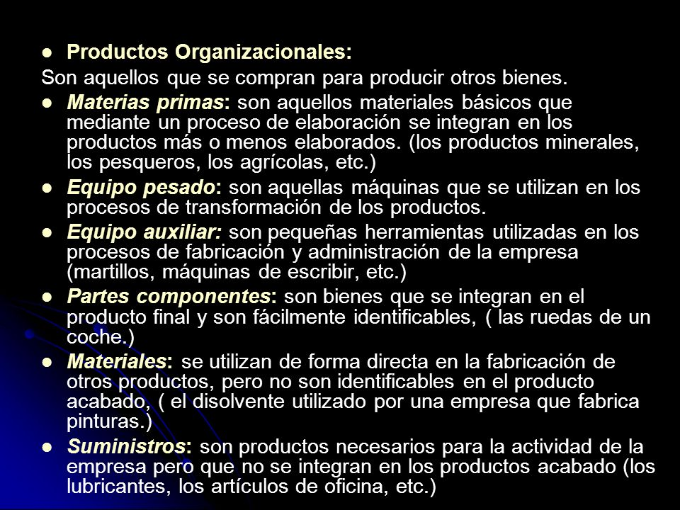 Productos Organizacionales:
