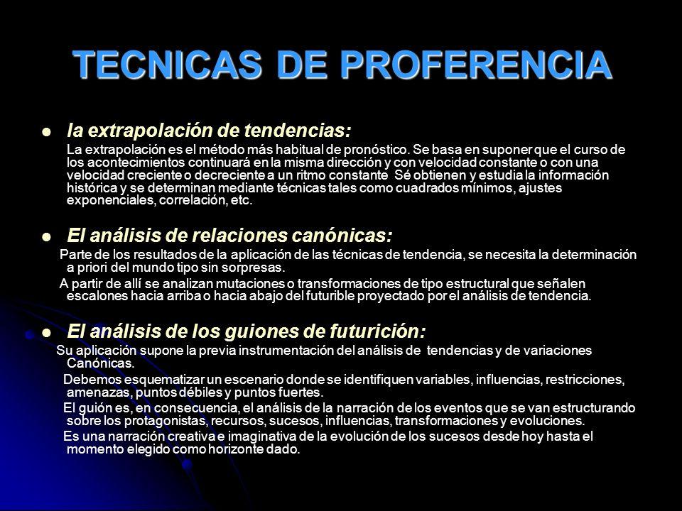 TECNICAS DE PROFERENCIA