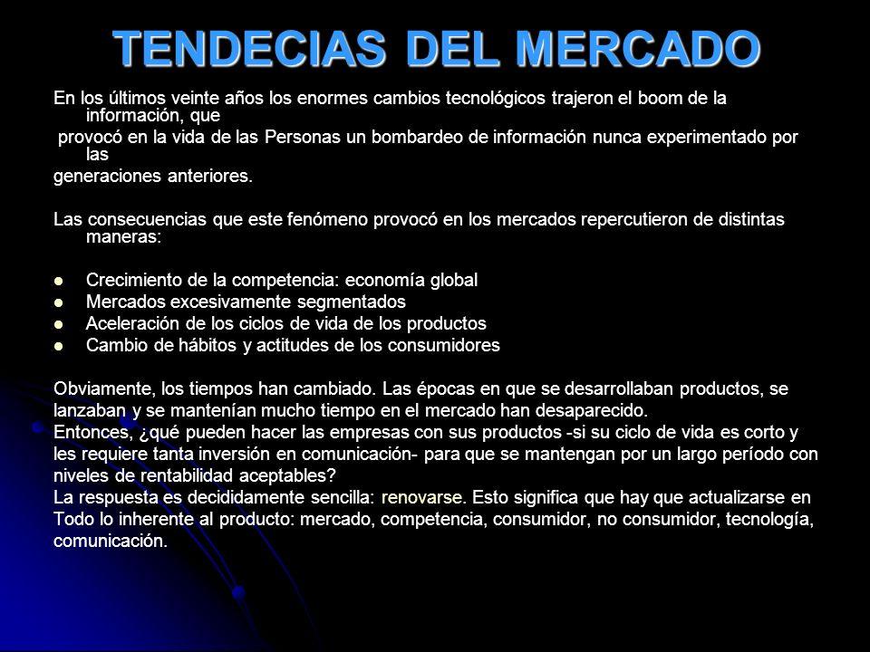 TENDECIAS DEL MERCADO En los últimos veinte años los enormes cambios tecnológicos trajeron el boom de la información, que.