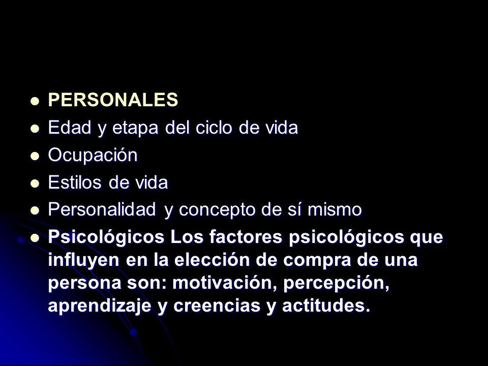 PERSONALES Edad y etapa del ciclo de vida. Ocupación. Estilos de vida. Personalidad y concepto de sí mismo.