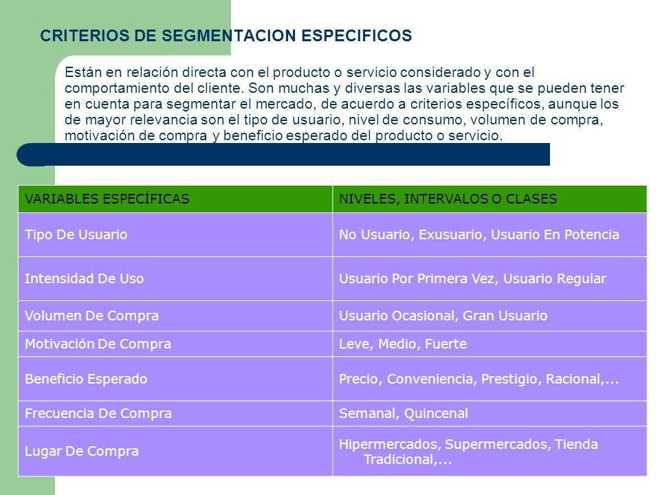 CRITERIOS DE SEGMENTACION ESPECIFICOS