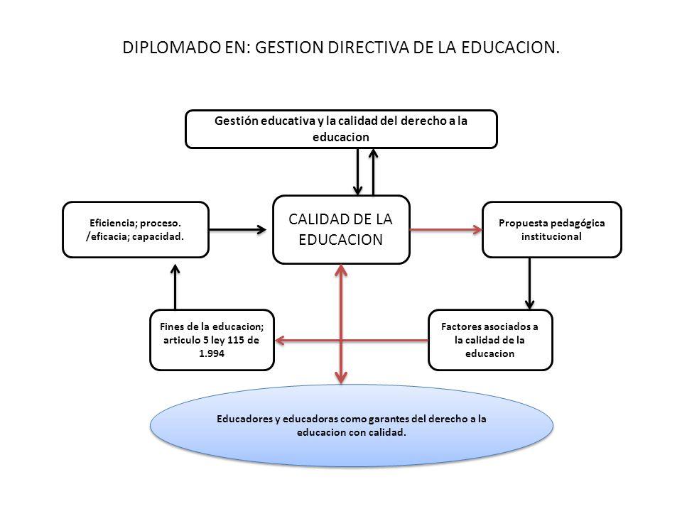 DIPLOMADO EN: GESTION DIRECTIVA DE LA EDUCACION.