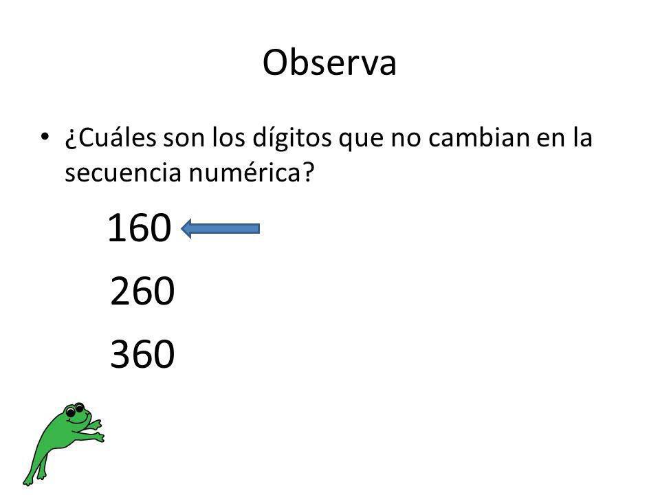Observa ¿Cuáles son los dígitos que no cambian en la secuencia numérica 160 260 360