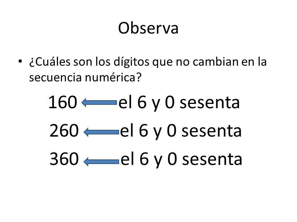 260 el 6 y 0 sesenta 360 el 6 y 0 sesenta Observa