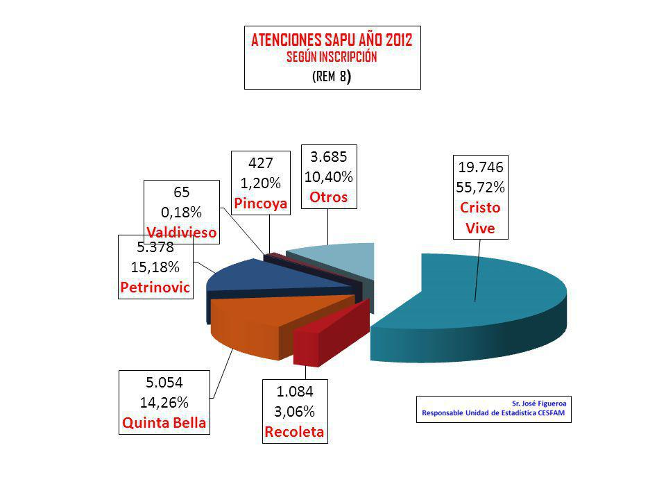 ATENCIONES SAPU AÑO 2012 SEGÚN INSCRIPCIÓN (REM 8)