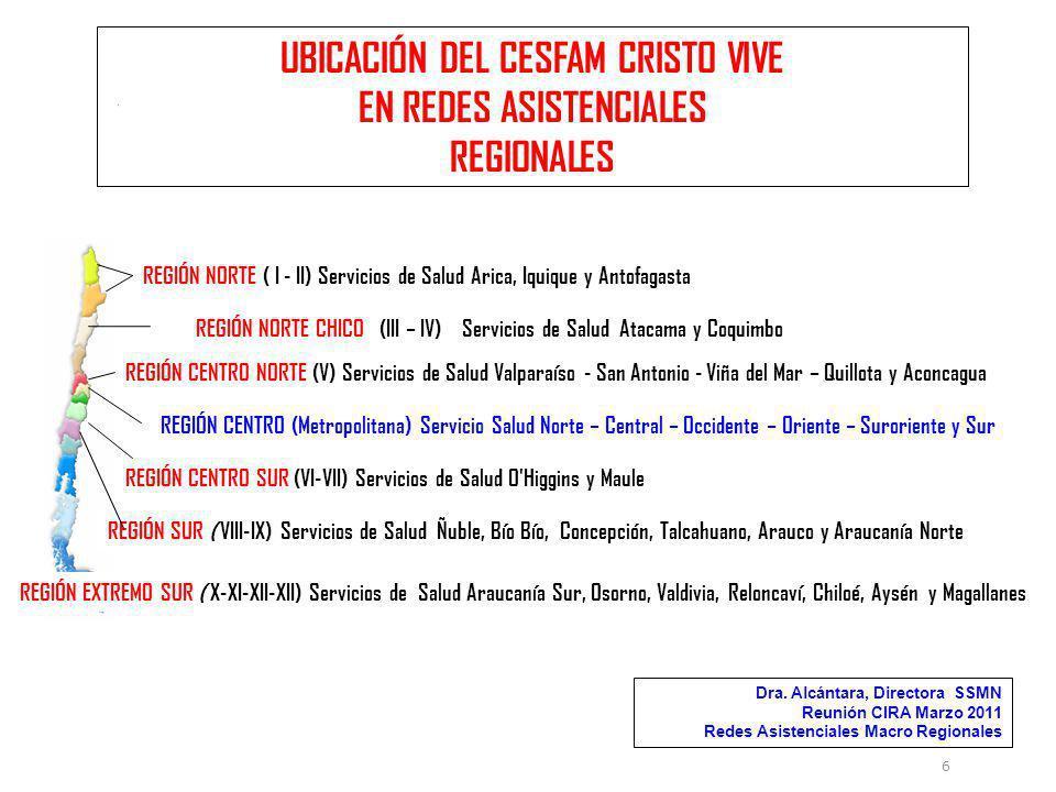 UBICACIÓN DEL CESFAM CRISTO VIVE EN REDES ASISTENCIALES