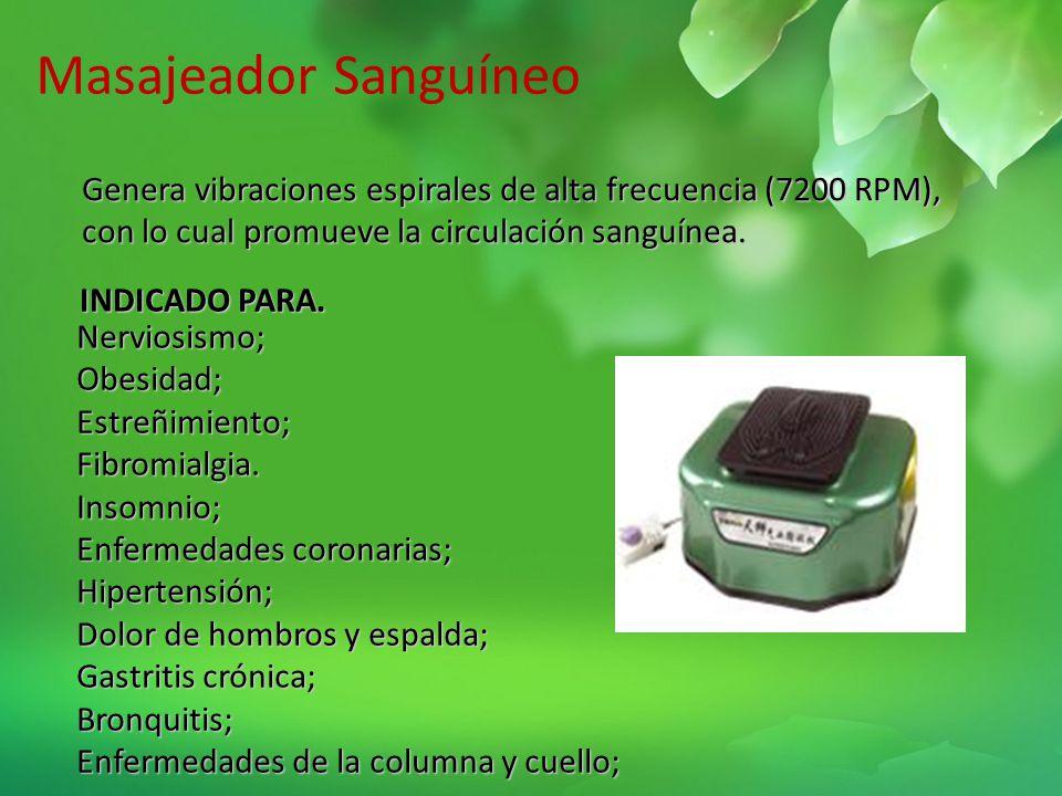 Masajeador Sanguíneo Genera vibraciones espirales de alta frecuencia (7200 RPM), con lo cual promueve la circulación sanguínea.