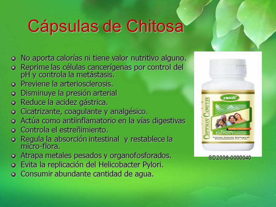 Cápsulas de Chitosa No aporta calorías ni tiene valor nutritivo alguno.
