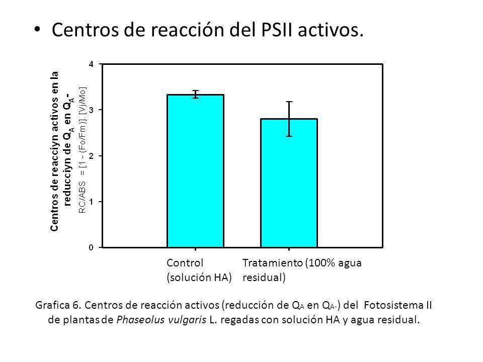 Centros de reacción del PSII activos.