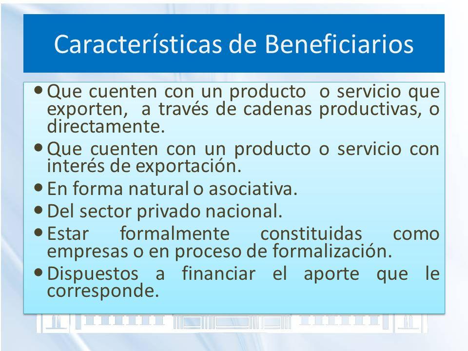 Características de Beneficiarios