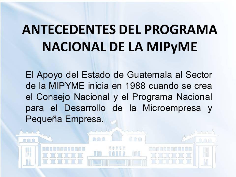 ANTECEDENTES DEL PROGRAMA NACIONAL DE LA MIPyME