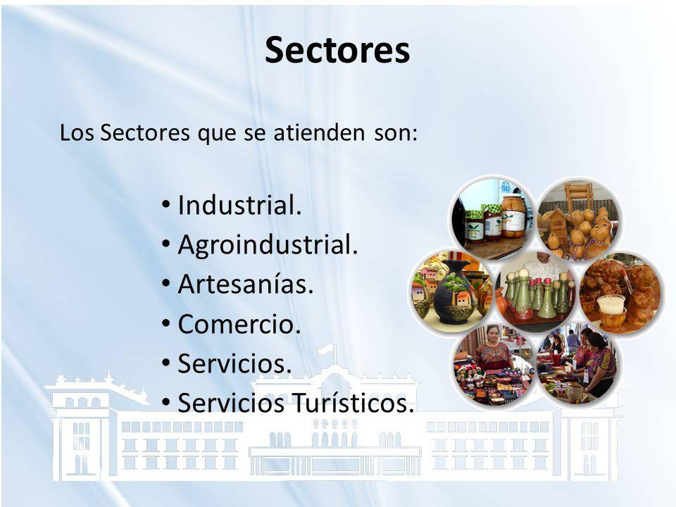 Sectores Industrial. Agroindustrial. Artesanías. Comercio. Servicios.