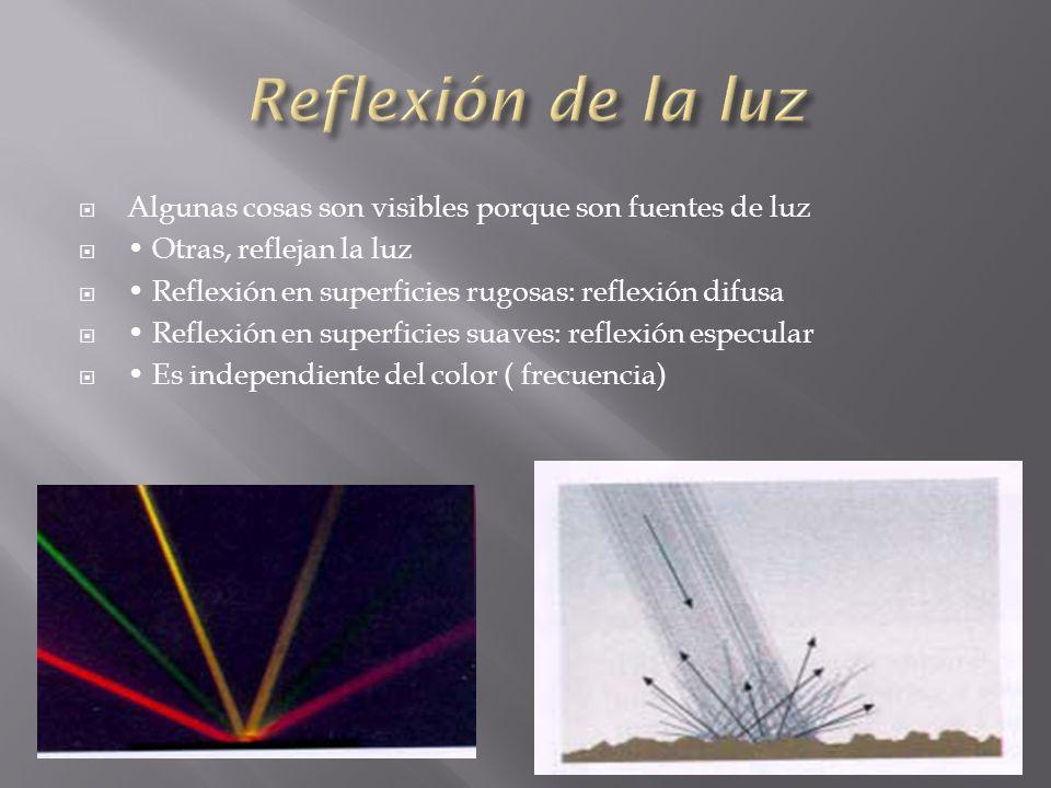 Reflexión de la luz Algunas cosas son visibles porque son fuentes de luz. • Otras, reflejan la luz.