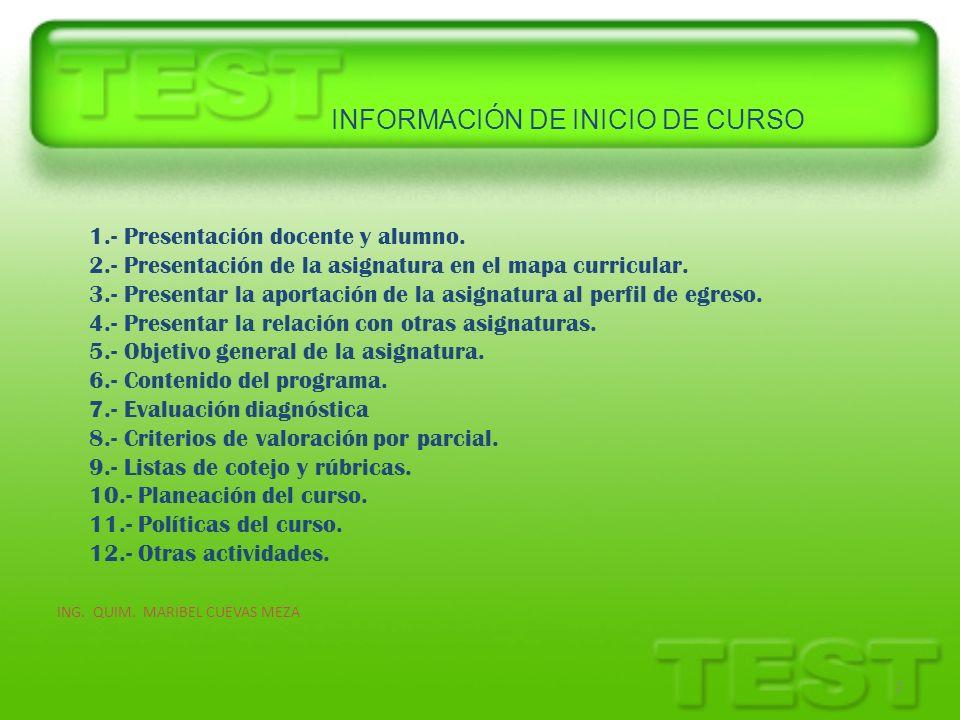 INFORMACIÓN DE INICIO DE CURSO