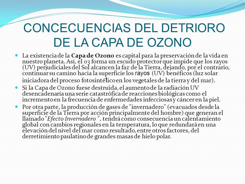 CONCECUENCIAS DEL DETRIORO DE LA CAPA DE OZONO