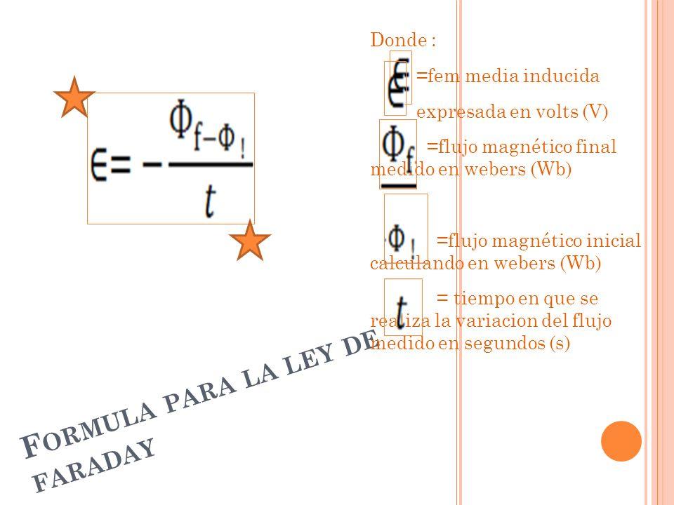 Formula para la ley de faraday