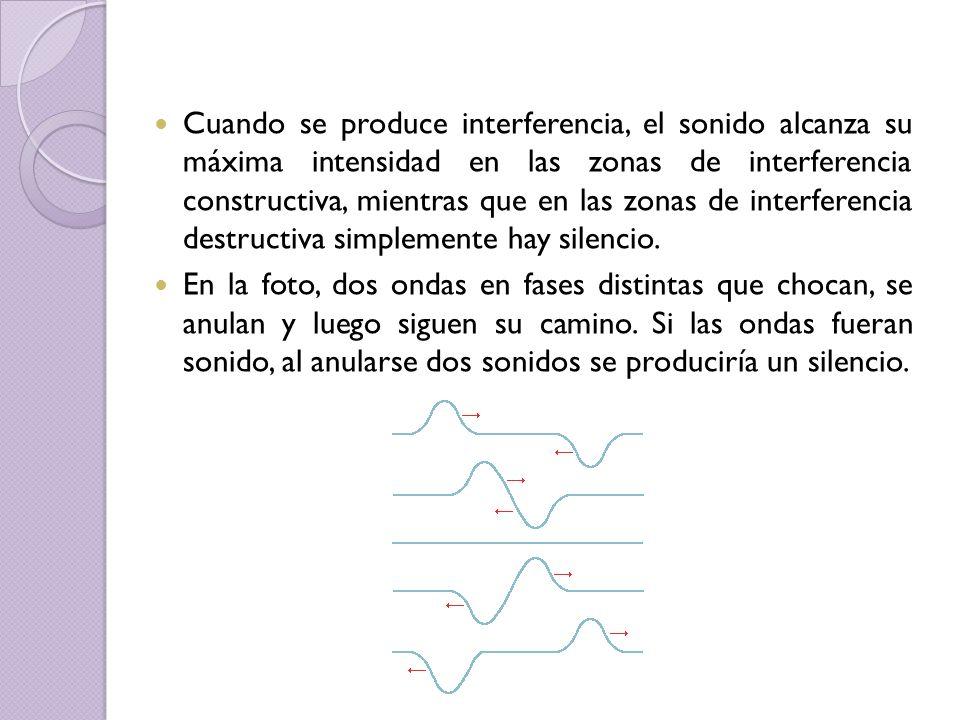 Cuando se produce interferencia, el sonido alcanza su máxima intensidad en las zonas de interferencia constructiva, mientras que en las zonas de interferencia destructiva simplemente hay silencio.