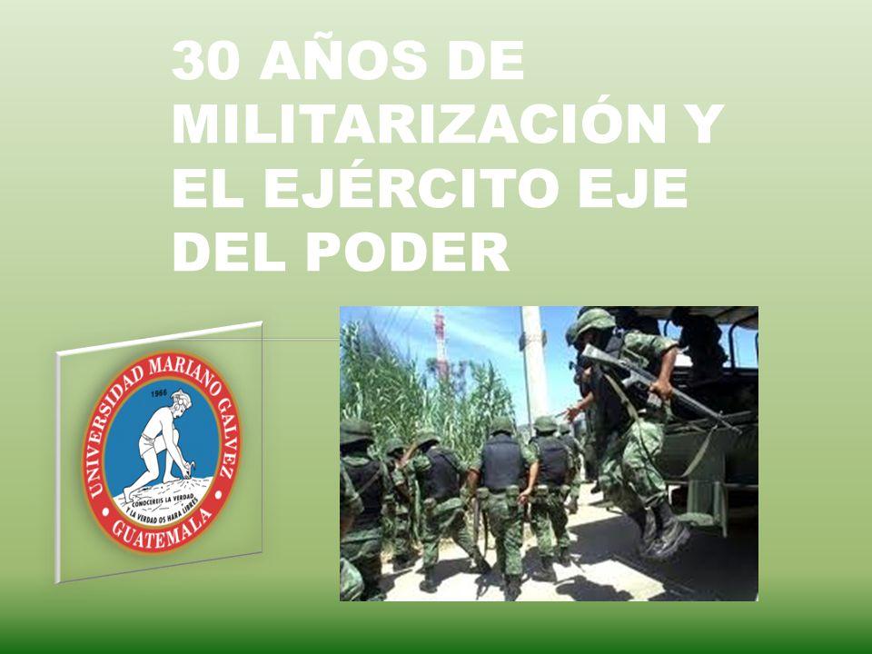 30 AÑOS DE MILITARIZACIÓN Y EL EJÉRCITO EJE DEL PODER