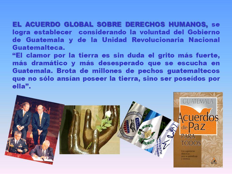 EL ACUERDO GLOBAL SOBRE DERECHOS HUMANOS, se logra establecer considerando la voluntad del Gobierno de Guatemala y de la Unidad Revolucionaria Nacional Guatemalteca.