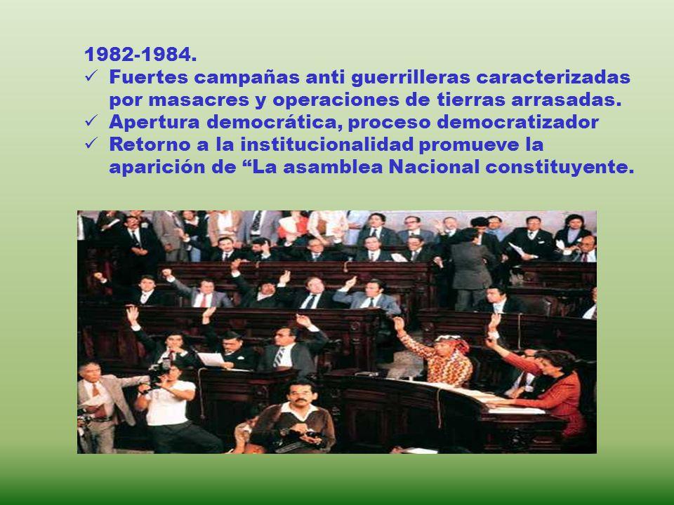 1982-1984. Fuertes campañas anti guerrilleras caracterizadas por masacres y operaciones de tierras arrasadas.