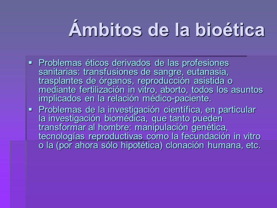 Ámbitos de la bioética