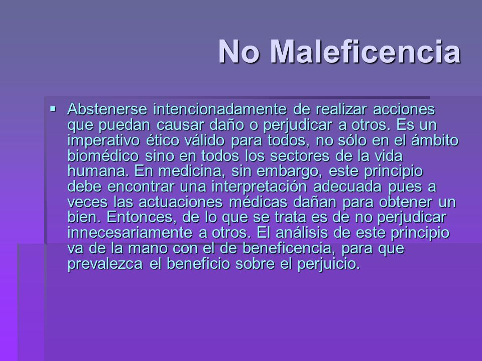 No Maleficencia